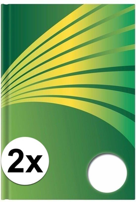 2x Luxe schrift A5 formaat groene harde kaft