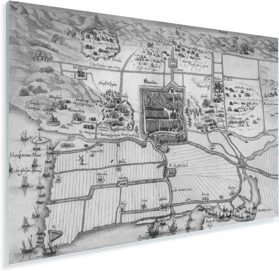 Historische zwart witte stadskaart van Haarlem Plexiglas - Plattegrond 30x20 cm - klein - Foto print op Glas (Plexiglas wanddecoratie)