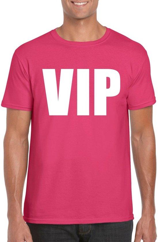 VIP tekst t-shirt roze heren M