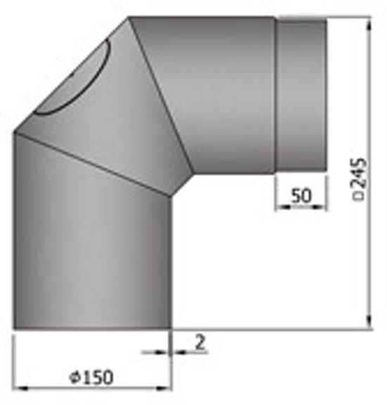 Kachelpijp Bocht 2x 45º (90 graden) Zwart