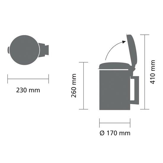 Brabantia NewIcon Wandafvalemmer 3 Liter Matt Black