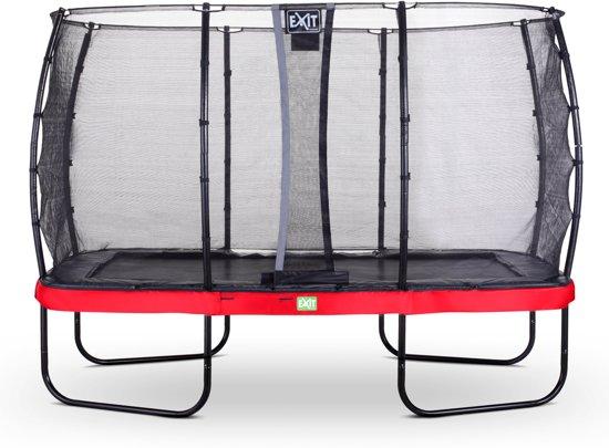 EXIT Elegant trampoline 244x427cm met veiligheidsnet Economy - rood