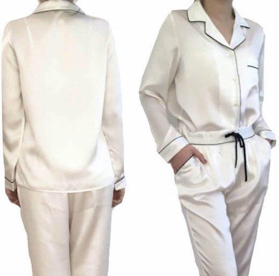 Bolcom Dames Zijden Pyjama Set Crème Wit L