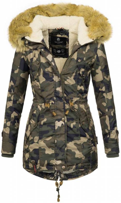 Winterjas Dames Creme.Bol Com Navahoo Dames Winterjas Parka Warm Gevoerd Camouflage