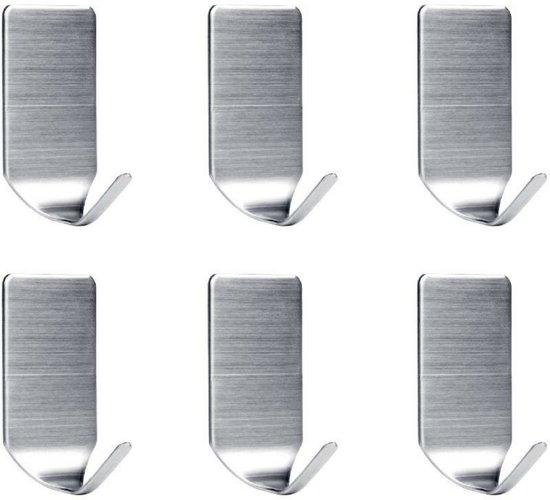 LifeGoods RVS Wandhaak (6-stuks) - Zelfklevende Handdoek Haakjes - Multi Wandhaakje - Muur Haak - Deurhaak