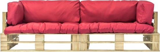 vidaXL Pallet tuinbankenset met rode kussens 2-delig FSC grenenhout