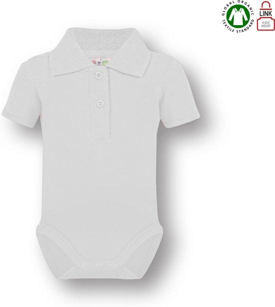 Link Kidswear Romper, polokraag romper. BIO 100% katoen GOTS, maat 86-92 in de kleur wit.