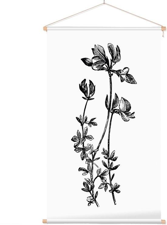 Textielposter Botanisch Rolklaver Zwart-Wit (Birds-Foot Trefoil) - 40 x 70 cm