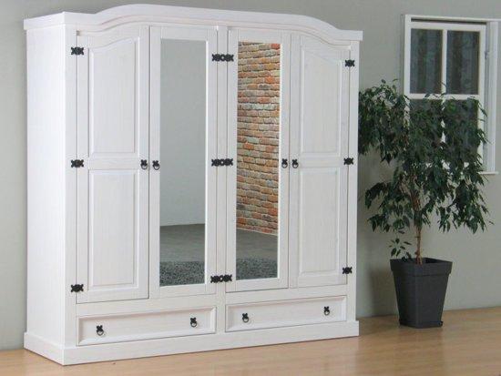 Bol.com new mexico kledingkast 4 deurs met spiegel wit grenen