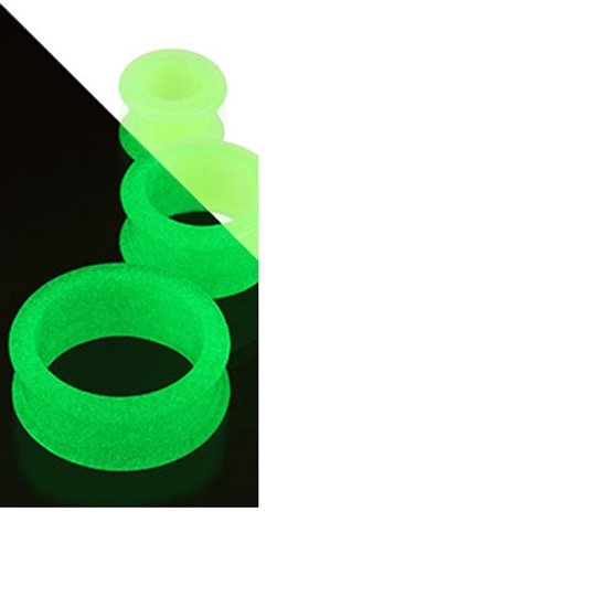 4 mm Double-flared Tunnel soft silicone glow in the dark groen