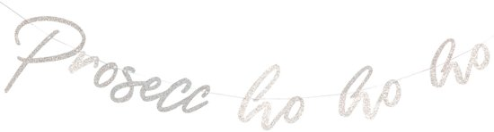 Ginger Ray Jolly Good Vibes - 'Prosecco Ho Ho' kerst slinger - Zilver glitter - 1,50 meter Valentinaa