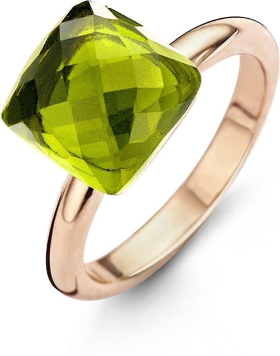 New Bling 983201022-50 - Stalen Ring - 15mm - Rosékleurig en groen - Zirkonia steen vierkant Peridot