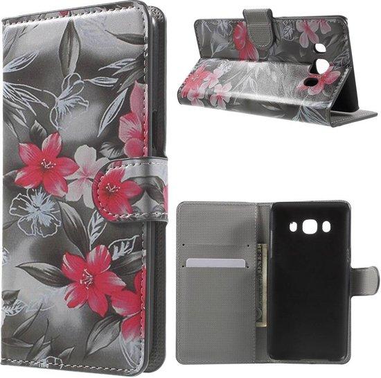 GSMWise - Samsung Galaxy J5 (2016) - PU Lederen Portemonnee Case met Kaarthouder - Roze Bloemen Design in Jette