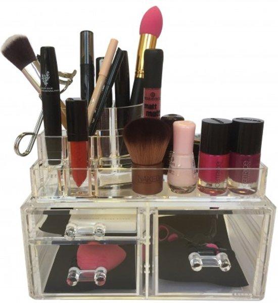 BEAUTYCUBE - Beauty organizer - Make-up organizer - Acryl Organizer Transparant / Clear met 3 lades make up opbergen - make up opbergbox / opbergbak / opbergsysteem