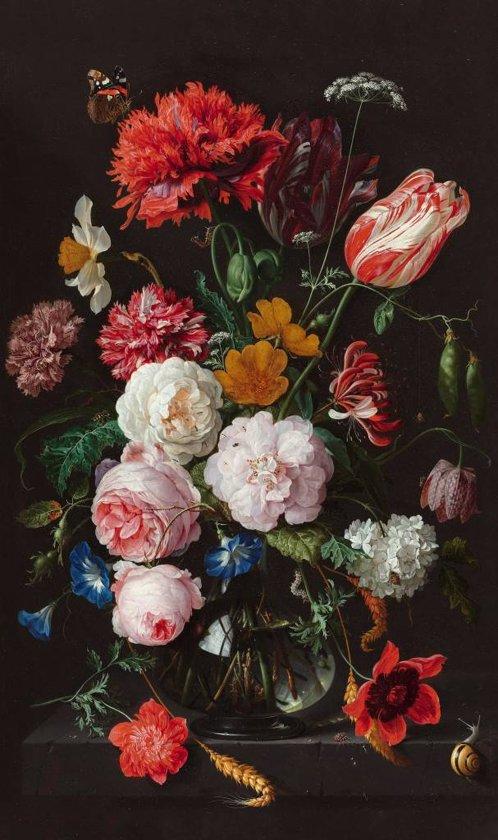 Jan Davidsz de Heem Stilleven vaas met bloemen - Schilderij op canvas 70 x 118 cm