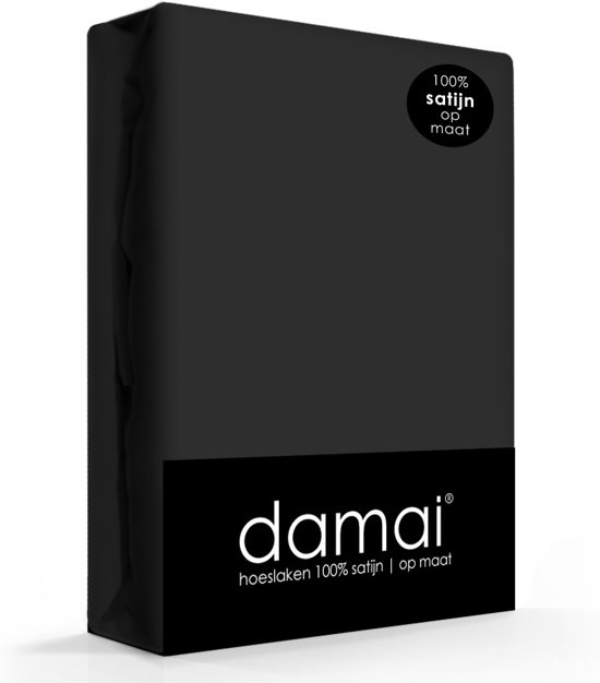 Damai - Hoeslaken (tot 25 cm) - Satijn - 180 x 200 cm - Zwart
