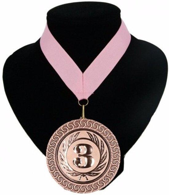 Kampioensmedaille nr. 3 aan roze lint