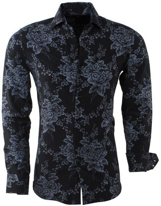 Montazinni Overhemd Slim Bloemen Zwart Heren Fit rpZ5wBxr6q