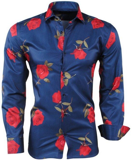 Heren Slim Fit Overhemd.Bol Com Pradz Heren Overhemd Rozen Slim Fit Navy