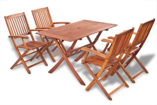 Bol tuinset hout stoelen rechthoekige tafel