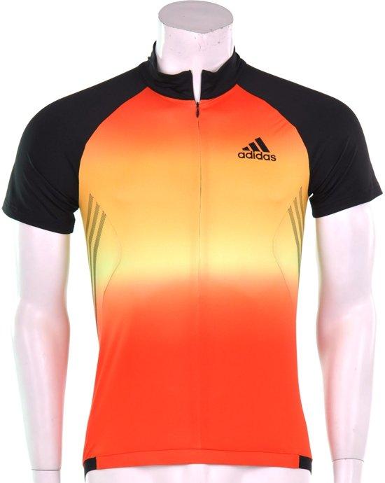 adidas 365 Cycling Tee - Sportshirt -  Heren - Maat L - Zwart;Oranje;Geel