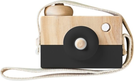 Houten Camera/Fototoestel Speelgoed | Zwart | Kinderkamer Baby Accessoire/Decoratie