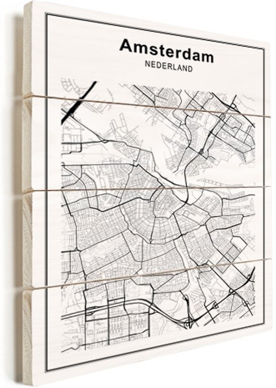 Stadskaart - Amsterdam vurenhout groot 100x140 cm - Plattegrond