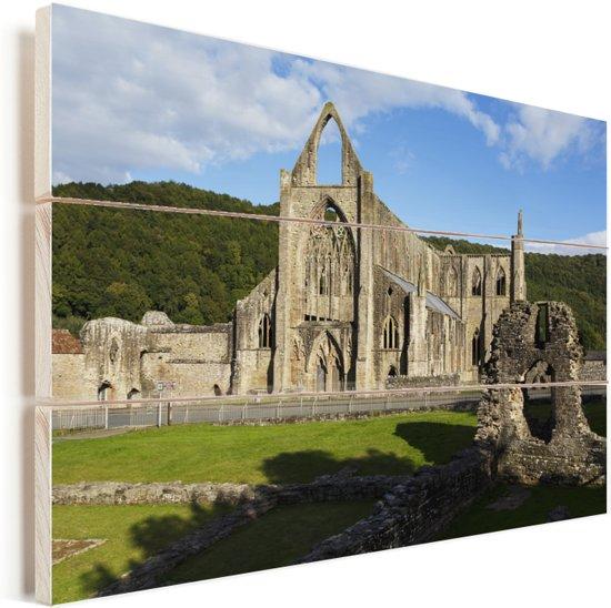 De Tintern Abbey in Wales Vurenhout met planken 60x40 cm - Foto print op Hout (Wanddecoratie)