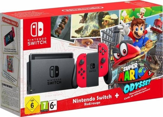 Nintendo Switch Super Mario Odyssey Console - 32GB - Rood