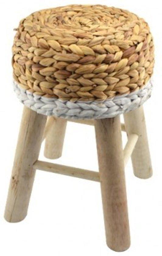 Houten krukje met gevlochten waterhyacint bruin/wit 43 cm hoog