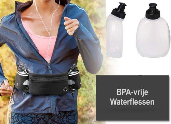OneVida Runningbelt -  Drinkgordel - Waterdicht middenvak - 2 Drinkflessen + Gratis LED armband