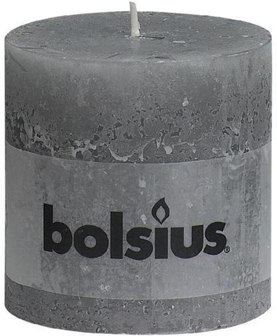 Bolsius Rustiek Stompkaars - 100/100 mm - 6 stuks - Grijs