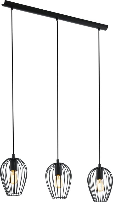 EGLO Vintage Newtown - Hanglamp - 3 Lichts - Lengte 700mm. - Zwart