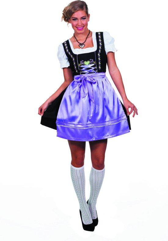 Boeren Tirol & Oktoberfest Kostuum | Stube-Dame Dirndl Zwart Met Paarse Schort | Vrouw | Maat 38 | Bierfeest | Verkleedkleding