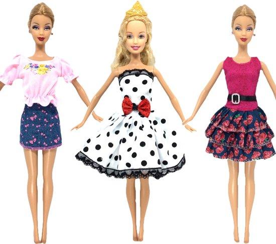 3x Barbie outfit met 2 jurkjes, shirt en rokje - Set kleding voor modepop - Barbiekleertjes