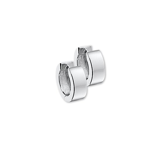 The Jewelry Collection Klapoorringen Vlak - Zilver Gerhodineerd