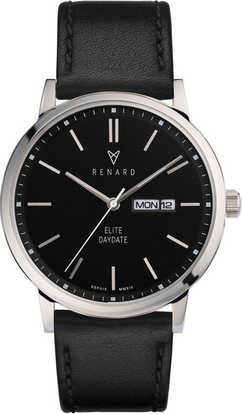 Renard Elite Day Date Black Black RD381SS30VBK - Horloge - Leer - Zwart - 38,5mm