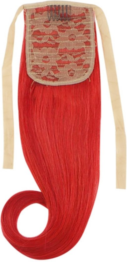 Remy Human Hair Extensions Ponytail straight rood - Red
