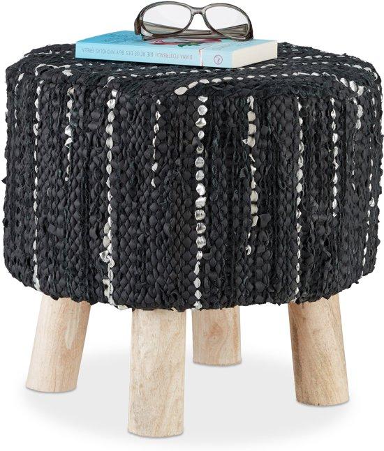 Verbazingwekkend bol.com | relaxdays poef zwart - gestoffeerd met leer - voetenbank PB-45