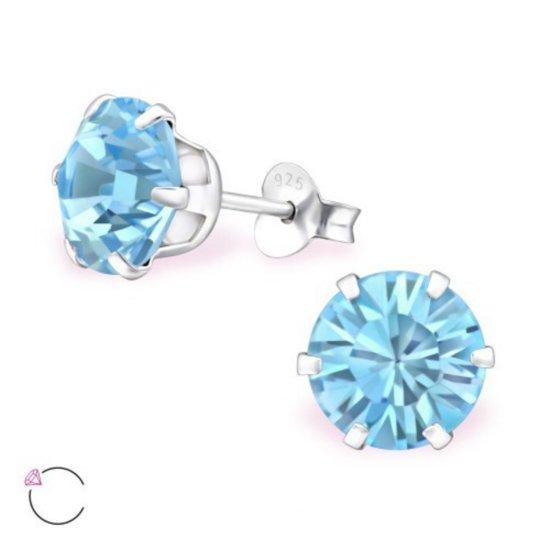 Oorstekers-sterling zilver-8 mm-SWAROVSKI en reg kristal-blauw
