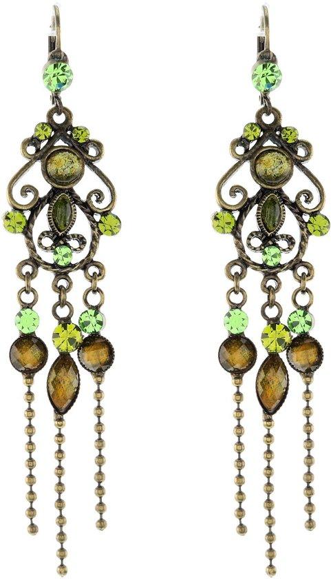 Oorhangers antiek goudkleur met fantasiehanger en groene met bruine stenen