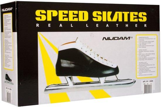 Nijdam 0098 Norenschaats Laag - Leder - Zwart - Maat 41