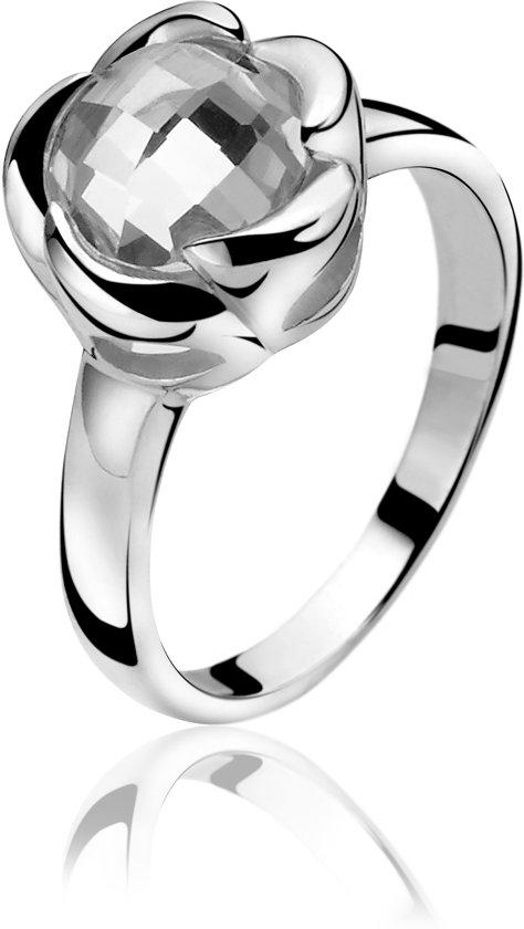 Zinzi - Zilveren Ring - Bloem - Zirkonia - Maat 50 ZIR865-50