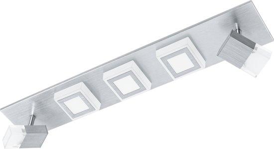 EGLO Masiano - Plafonnière - 3 Lichts - LED - Aluminium-Geborsteld - Gesatineerd