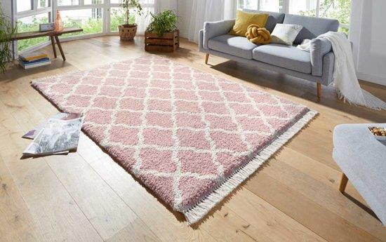 Hoogpolig vloerkleed Pearl - roze/crème 160x230 cm
