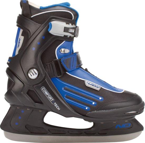 Nijdam 3353 Ijshockeyschaats - Semi-Softboot - Zwart/Blauw - Maat 46