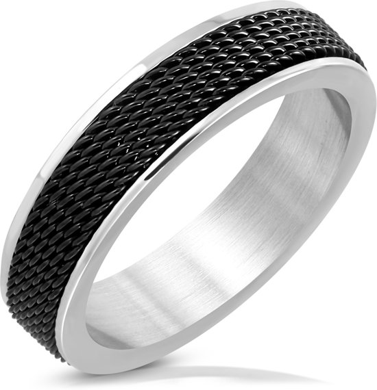 Amanto Ring Akram Black - Heren - 316L Staal - Mesh Band - 6 mm - Maat 63 -20