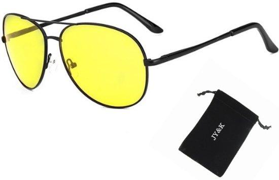 aea3b9042954f1 Nachtbril Piloot geel - met hoesje