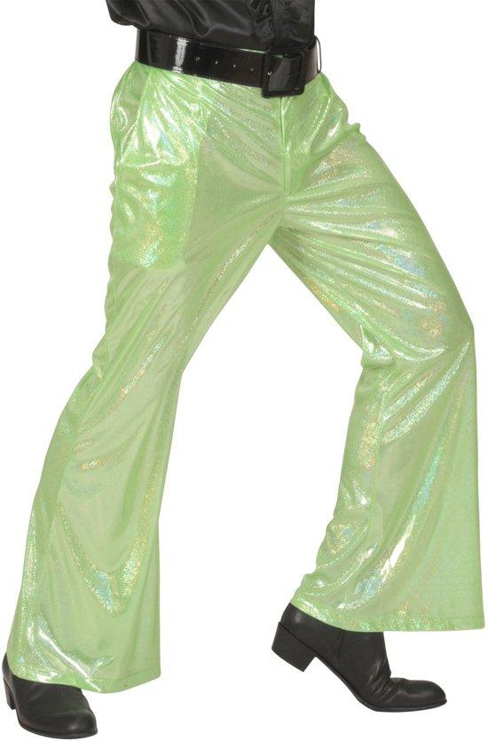 Groene glitter disco broek voor mannen - Verkleedkleding - XL