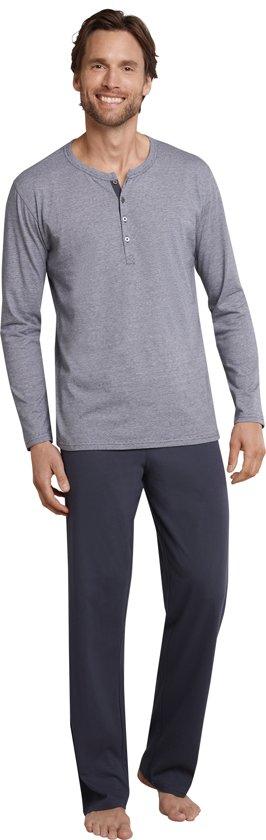 Schiesser Heren Pyjama - Antraciet - R Hals met knooplijst - Maat 110